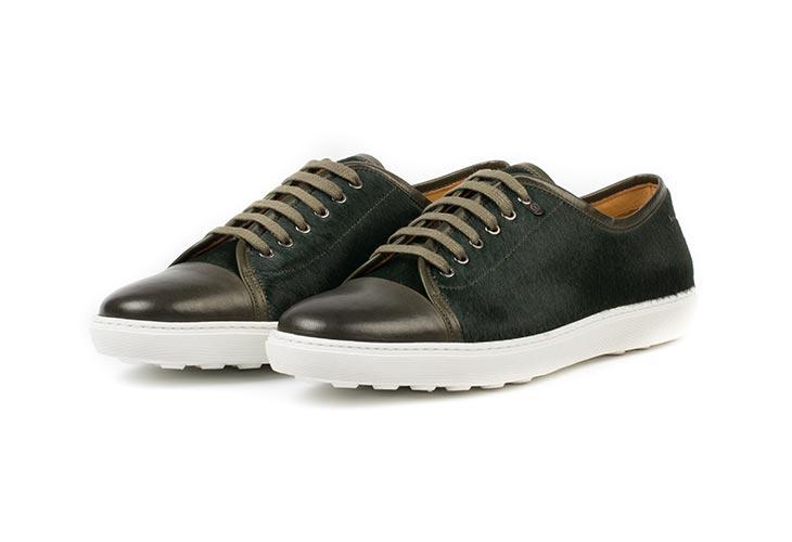Dark Green Handmade Leather Sneakers