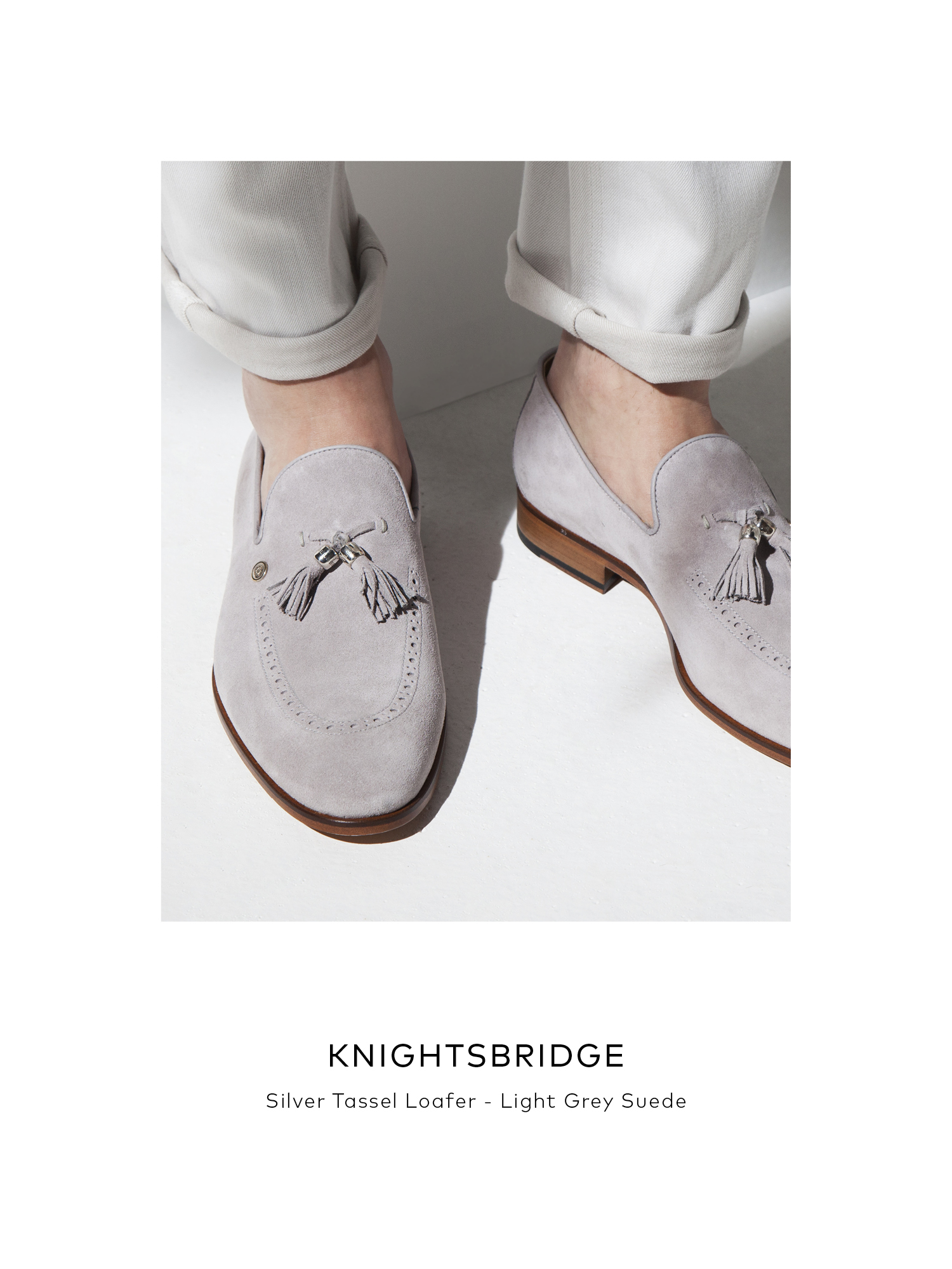 Knightsbridge, Silver Tassel Loafer - Light Grey Suede