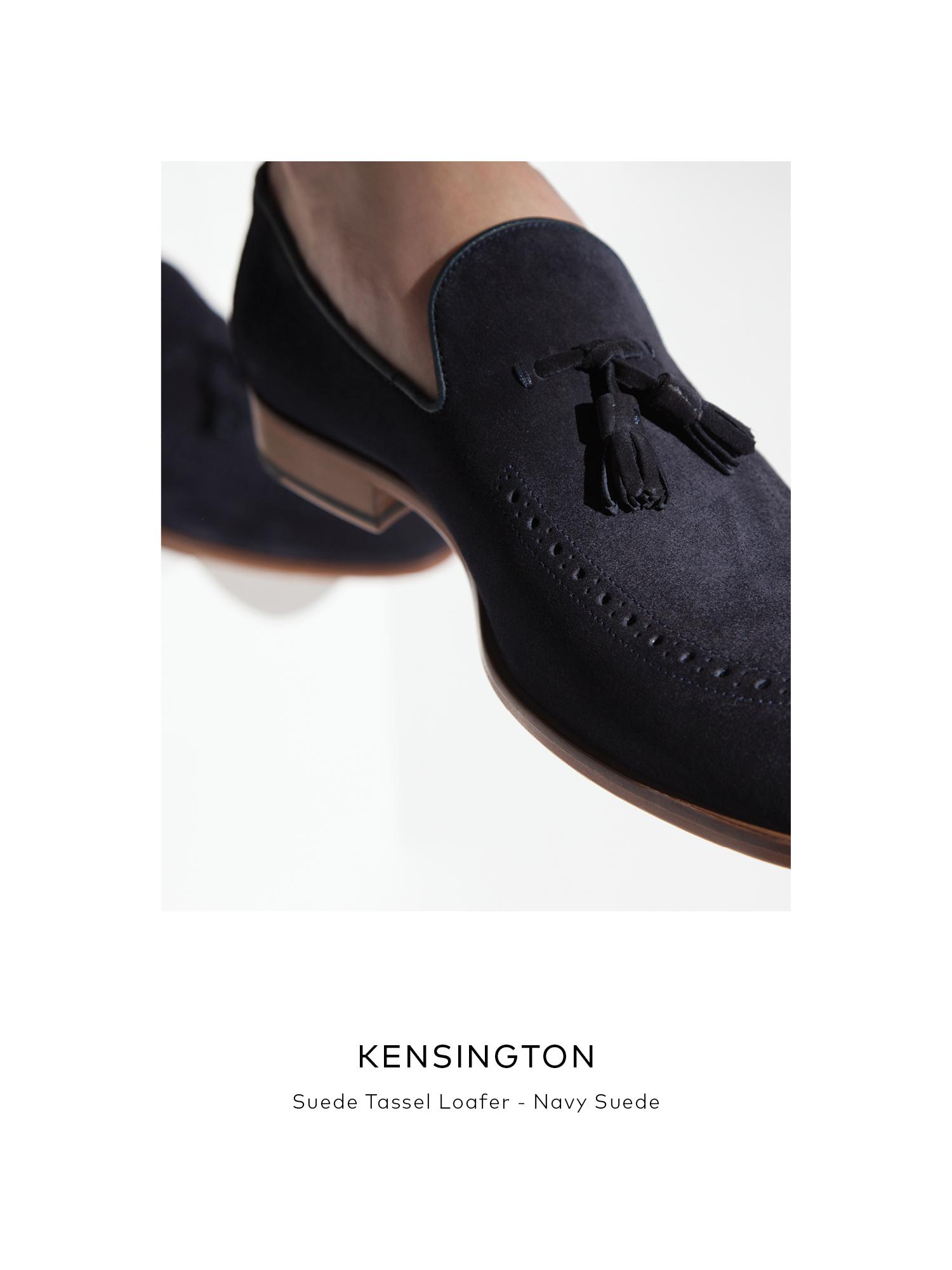 Kensington, Suede Tassel Loafer - Navy Suede